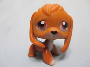 Littlest Pet Shop 16 Dog Puppy Light Brown BEAGLE Purple Red Eyes Authentic LPS