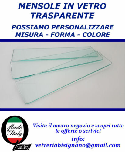 Glass shelves 31,5cm x 14cm 3 Pieces 4mm Thick with Rounded Corners