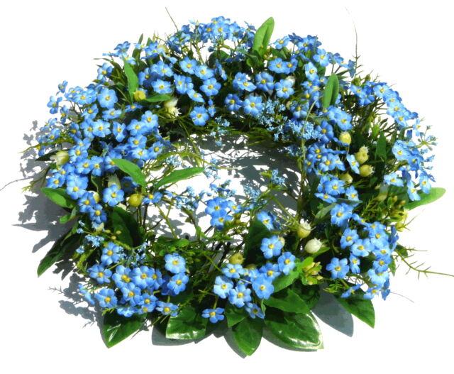 Blauer Vergissmeinnicht Kranz,Türkranz Frühling Sommer, Vergissmeinnichtkranz