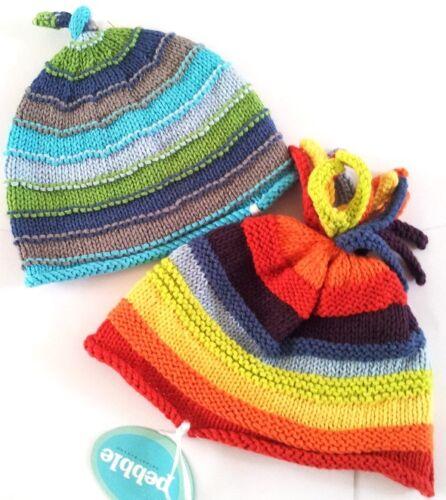 Pebble Fair Trade Stripy Baby Hat Beanie 100/% Cotton