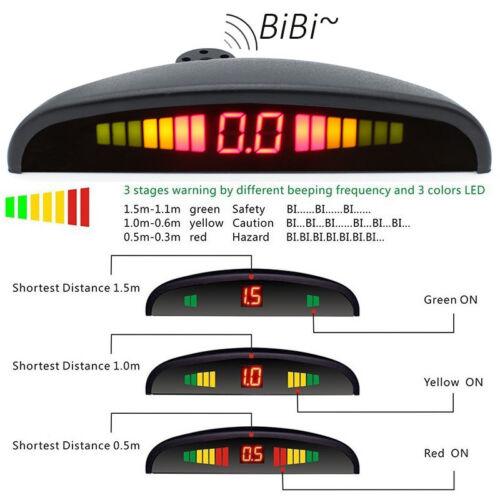 4 Parking Sensors LED Display Car Rear Reverse Backup Radar System Alert Alarm