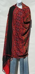 """Yak Wool Shawl/Throw-Handloomed Solid Base Color: Red/Black Size-80"""" x 40"""""""