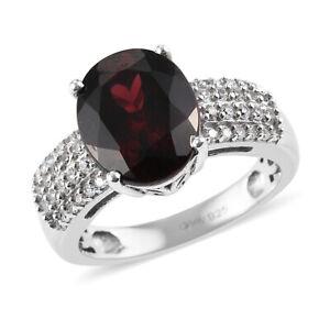 925 Sterling Silver Platinum Over Garnet Zircon Promise Ring Gift Size 7 Ct 4.8