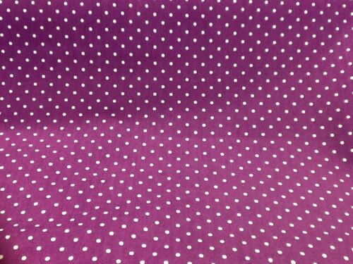 100/% cotton polka dots fabric by the metre in Purple