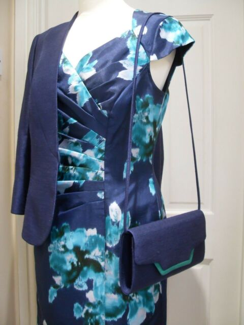 9821b7510e093 10/12 Jacques Vert Dress Jacket Bag BLOOMSBURY Navy Green Mother of the  Bride