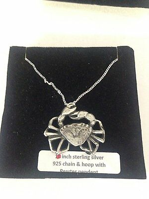 Crab PP-SS02 Pendant on 925 Sterling Silver Necklace 16,18,20,26,30