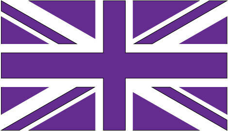 GREAT BRITAIN UNION JACK FLAG VINYL STICKER IN PURPLE Car Bumper Sticker