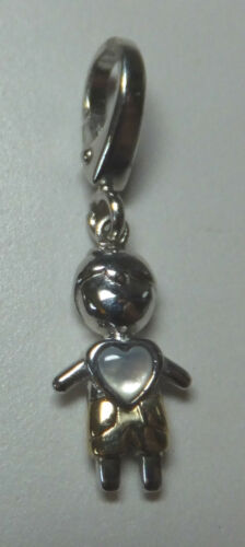 Brand New Sterling Silver /& 14KT Genuine Mother-of-Pearl Little Boy Charm