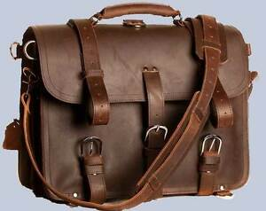 "Extra LARGE 17"" Thick Saddle Leather Briefcase Messenger ..."