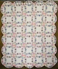 """Small Scrap bag Pieces! VINTAGE 30s Double Wedding Ring QUILT 86"""" x 72"""""""