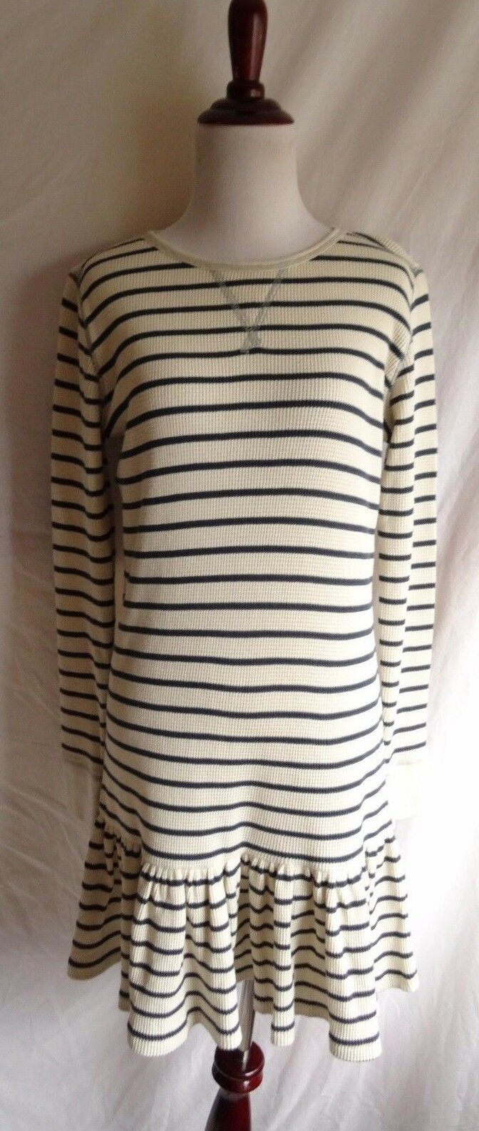 Polo Ralph Lauren M Navy bluee Ivory Stripe Thermal Waffle Knit Shirt Dress