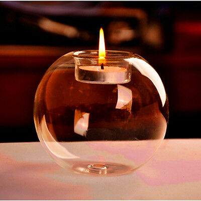 Romantic Crystal Round Shape Glass Candle Holder Wedding Dinner Home W/ Candle