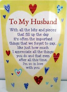 Image Is Loading HEARTWARMER KEEPSAKE MESSAGE CARD 034 TO MY HUSBAND