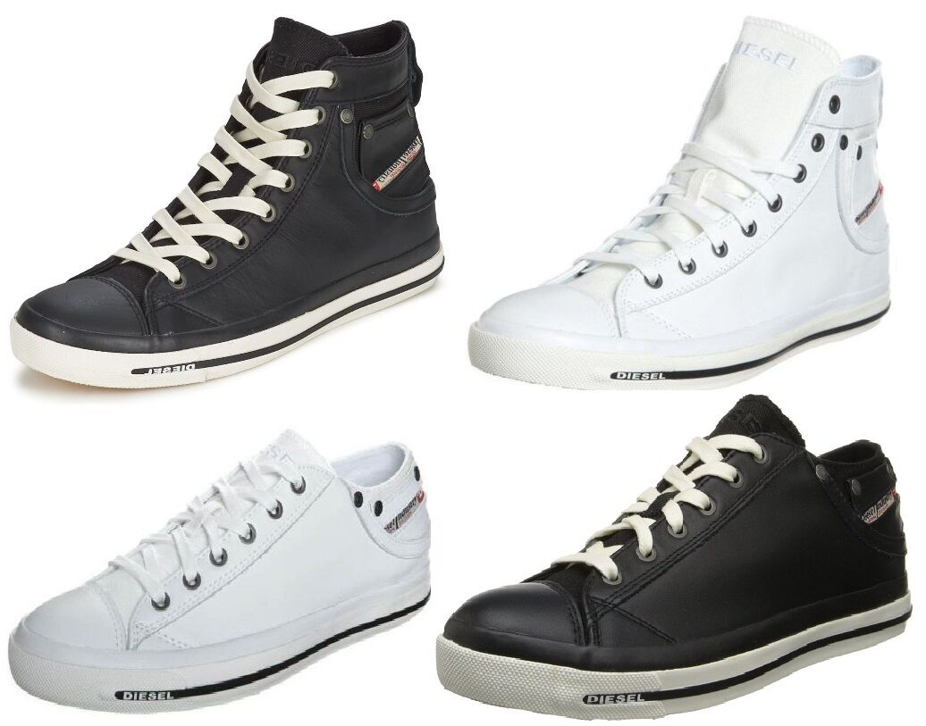 Zapatos promocionales para hombres y mujeres Diesel Exposure iv New Womens Leather Trainers Shoes Boots