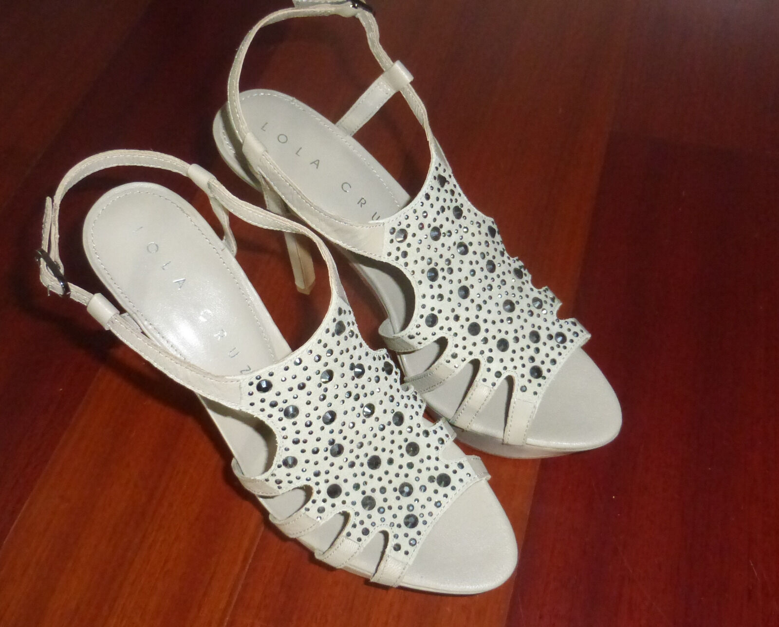 Lola Cruz Leder Schuhe High Heels Größe 38 Sandaleette Plateau Sandale