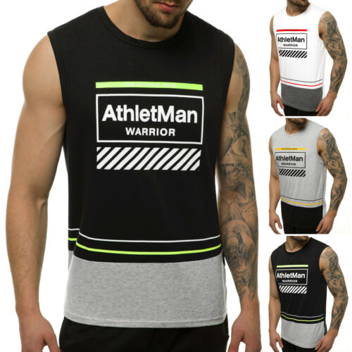 Tanktop T-Shirt Muskelshirt Sport Fitness Aufdruck OZONEE JS//SS11082 Herren