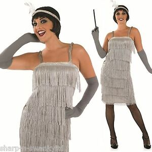 Ladies Silver 1920s Gatsby Flapper Fancy Dress Costume Outfit UK 8 ...