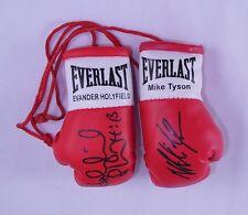Autografiado Mini Guantes De Boxeo Mike Tyson Vs Evander Holyfield