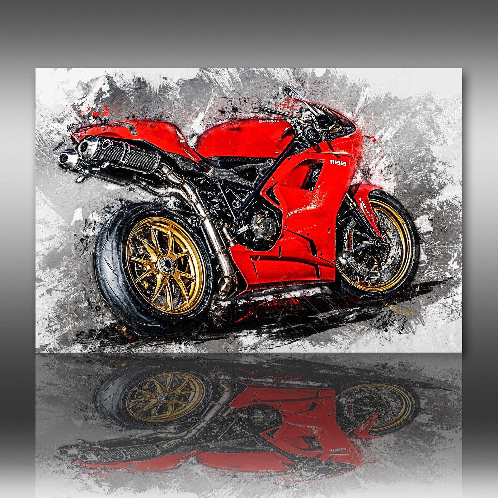 Ducati 1098 Leinwand Bild Motorrad Deko Wandbild Poster XXL Kunstdruck