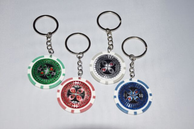 (1,48€/St) 4 Schlüsselanhänger Pokerchip Pokern Chip Schlüssel Schlüsselring