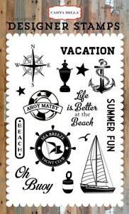 SEA-BREEZE-4x6-Clear-Designer-Stamps-Carta-Bella-14pc-Beach-Nautical-Summer