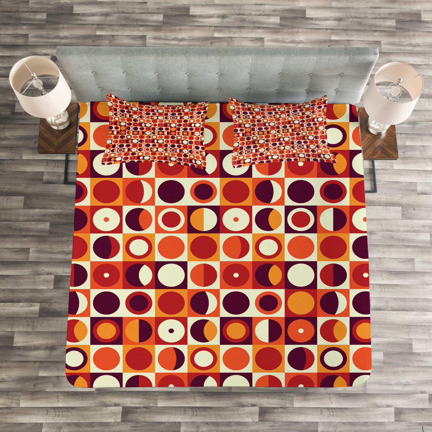 Geometric Quilted Bedspread & Pillow Shams Set, Sixties Style Ovals Print