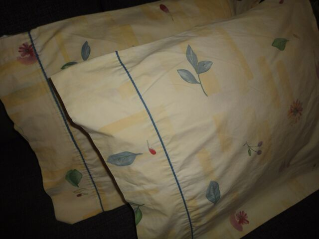 CROSCILL GAZEBO YELLOW BLUE GREEN ROSE BOTANICA (PAIR) QUEEN PILLOWCASES 20 X 33