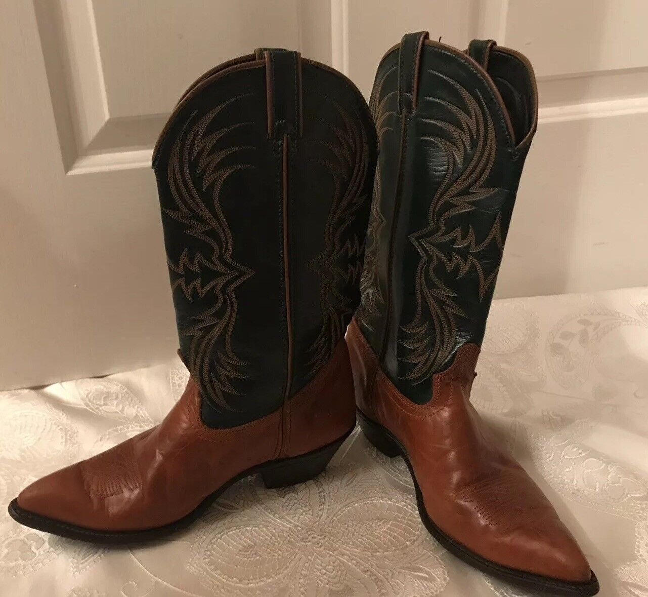 Laredo Womens Leather Vamp Snip Toe Western Cowboy Boots 10M Brown Green