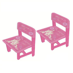 Pair of Disney Princess Enchanted Tales Wooden Chairs Kids Children Toddlers