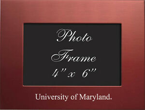 University Of Maryland 4x6 Brushed Metal Picture Frame Red Ebay