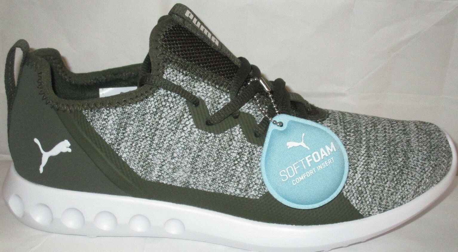 MEN'S PUMA CARSON 2 X KNIT FOREST NIGHT-PUMA WH SOFT FOAM COMFORT SHOES SIZE 10