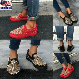 Women-Rhinestone-Rivet-Round-Toe-Flats-Shoes-Ladies-Casual-Slip-On-Shoes-Loafers