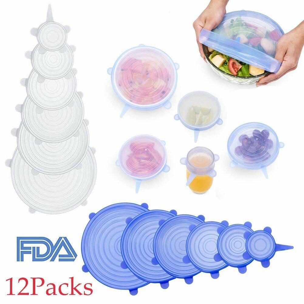 6//12x Reusable Silicone Stretch Pot Lids Wrap Bowl Seal Cover Keep Food Fresh Ne