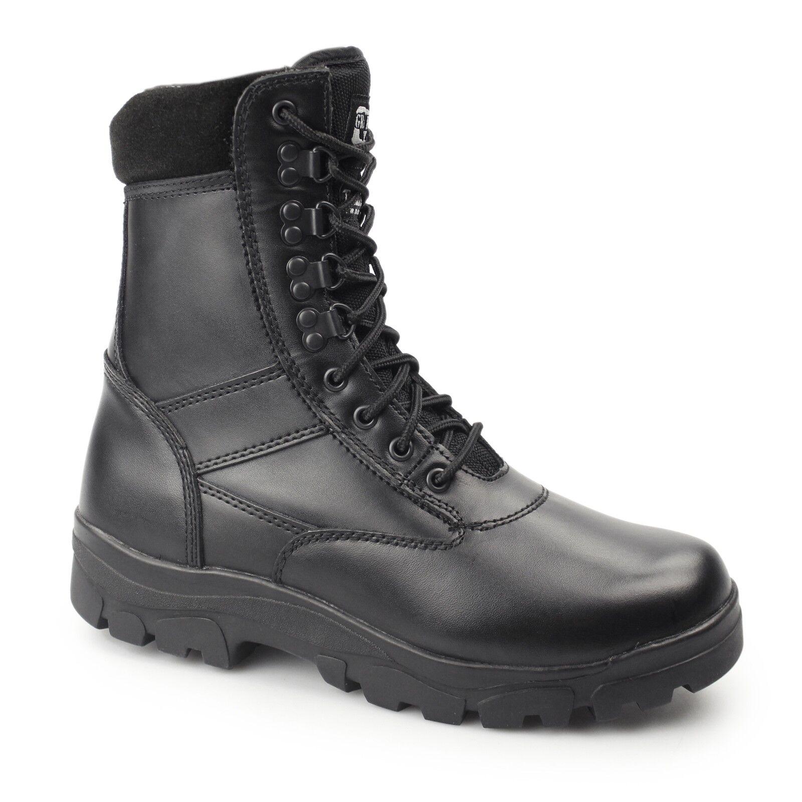 Vividores Top Gun Gun Gun Mens damas no Seguridad De Cuero Con Cordones Combate botas De Trabajo Negro  en stock