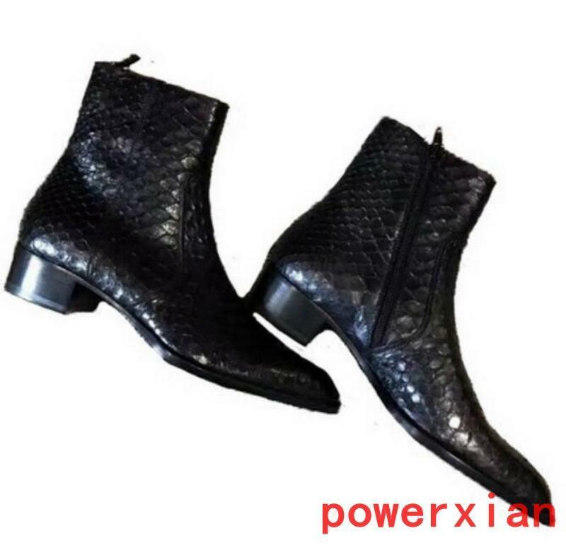 Real Leather Mens High top Ankle Boots Alligator print Runway Boots shoes Vogue