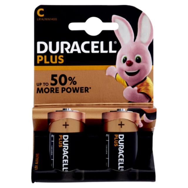 Batteria Duracell Mezzatorcia C Plus Power Pile Alcaline - Blister da 2 Batterie
