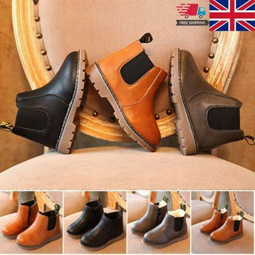 Baby Kids Boys Girls Winter Warm Fur Lined Warm Shoes Ankle Boots Chelsea Shoes