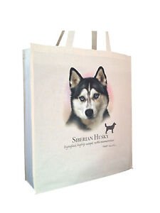 Siberian Husky Cotton Shopping Bag Tote with Gusset /& Long Handles Perfect Gift