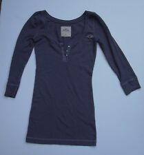 Hollister Junior sz XS Waffle knit Tshirt Gray 3/4 Sleeve Rhinestone Buttons