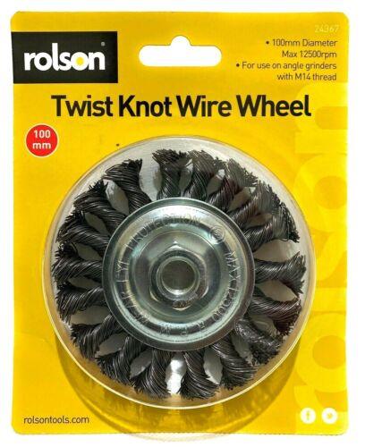 "Rloson Twist Knot Wire Wheel 100mm M14 Thread Angle Grinders 12500rpm 4/"" Brush"