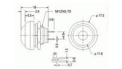 10X Bunte 12Mm Wasserdicht Momentary Ein Aus Taster Mini Rundenschalter CBL SP