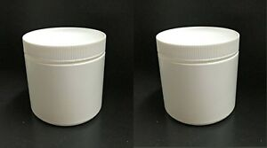 Details About Lot Of 2 Small White Plastic Canisters Containers With Lid