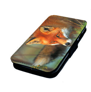 Red-Fox-Printed-Faux-Leather-Flip-Phone-Cover-Case