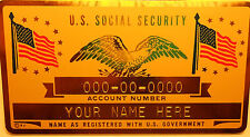 Metal Social Security Id Card Flags Gold Color Custom Engraved
