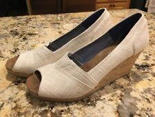ad810a918d0a item 1 Toms Women s Stella Natural Yarn Dye Peep Toe Wedge Shoes Heels 12  EUC -Toms Women s Stella Natural Yarn Dye Peep Toe Wedge Shoes Heels 12 EUC