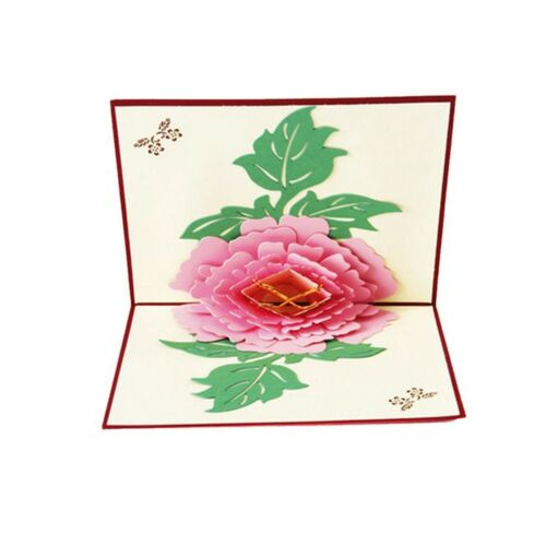1X Flower 3D  Cut Up Paper Vintage Kirigami Greeting Cards Post Cards