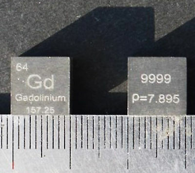 Collection High Purity 99.99% Gadolinium Gd Metal Carved Element 10mm Cube #EX4