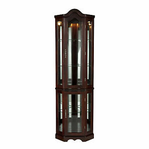CCC69960 MAHOGANY LIGHTED CORNER CURIO CABINET | eBay