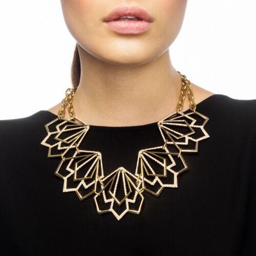 Fashion Women Geometric Shape Rhinestone Necklace Pendant Chain Jewelry Gift UK