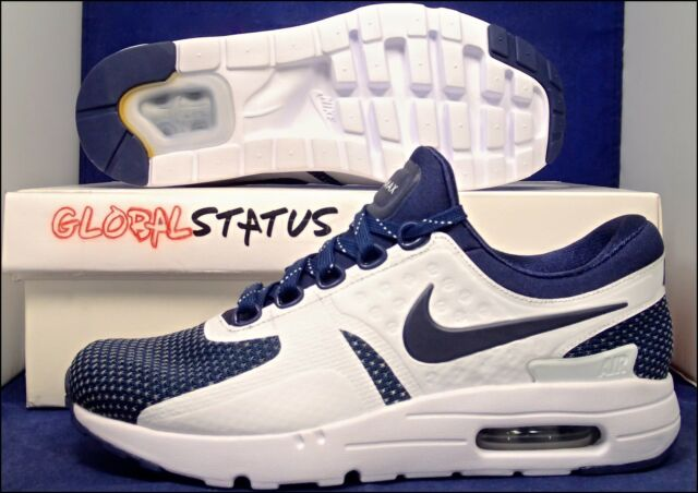 new concept 26e1b ac888 NIKE ID AIR MAX ZERO MIDNIGHT NAVY BLUE WHITE SHOES 853860 901 MENS 6.5  WOMENS 8